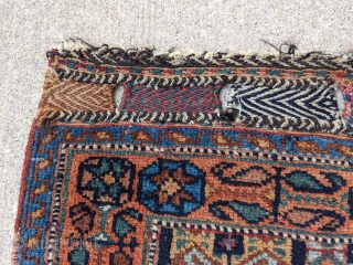 "Late 19th century Afshar bag. Unique design with some Kurdish influence. 2'2"" x 2'9"". Wonderful dyes and soft shiny wool. Great pile condition. Let me know if you need more info.