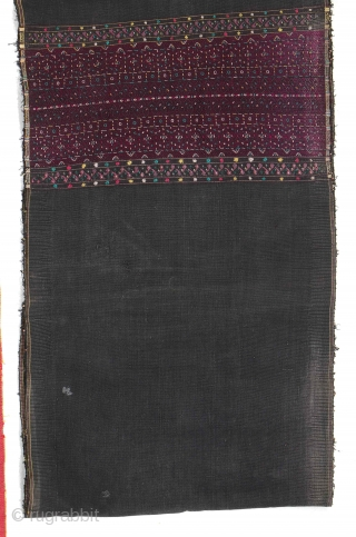 3 Old Burmese Hakachin Textiles, Western Burma. 1) Silk embroidered. 65'' x 14'' (165 x 36 cm); 2) 15'' x 31'' (38 x 79 cm); 3) Silk embroidered 48'' x 16'' (122  ...