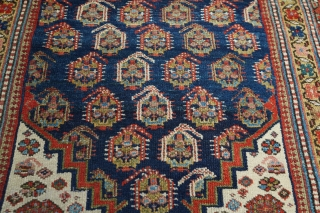 """Antique Kurdish runner with boteh pattern. Such great colors and dyes! 3'7"""" x 16'1"""". Medium pile with one small wear spot in a middle and few small moth damage spots. No holes,  ..."""
