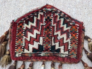 """Old Yomut dizlyks, camel knee covers. 9"""" x 12"""". One has a great green color with original tassles. Full pile except one area of oxidized brown."""