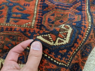 """Antique Baluch bag face. Wonderful shiny wool and good colors. No repairs.  2'0"""" x 2'10"""""""
