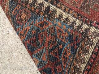 "19th Century, Torbat e Haidari Baluch rug. 3'8"" x 5'11"". I love the double headed ducks/birds near the top. Wonderful, rare piece packed full of guls.   Cheers."