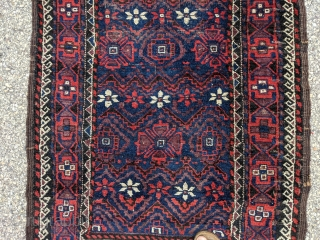 """Antique mina khani Baluch rug. 3'0"""" x 5'8"""". Good original condition with shiny, soft wool and great colors."""