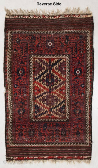 """Antique Baluch rug or sofreh with unusually wide border and small picture frame field. Complete kilim ends.  3'6"""" x 5'8"""" or 107 x 173cm"""