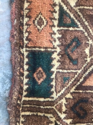 Early 1900s Ersari Kapanuk / Khalyk with original tassles. It has a lovely blue-green color. Full pile and these are quite rare!  140 x 55cm(side panels) or 4ft 7in x 1ft 10in  Let me  ...
