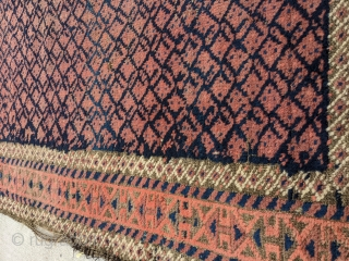 Beautiful boteh Baluch. Corroded brown, needs sides rewrapped. Soft wool.  5ft 1in x 2ft 11in or 155x89cm  Let me know if you'd like any additional photos.  Cheers.
