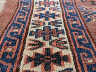 Nice 19th century Yomud chuval with good colors, indigo, green, and highlights of yellow. No holes or repairs besides the usual top corners where the draw strings would have been. These were  ...