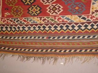 Wonderful antique QASHQAY KILIM  all fabulous natural colors, one very small repair, no stainbs, no fading at all, simply gorgeous, see also my eBaypages groen7groen 240x160cm without tassels 8x5.3ft without tassels, one tassel is  ...