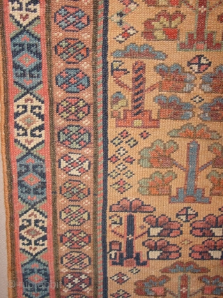 wonderful antique 1880 luri qashqay small square wedding? rug with trees of life or flower field, great natural colors, low pile, all ends professionally secured, clean, flat lying