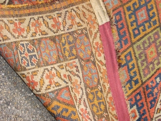 wonderful natural colors, great 1880 jaff kurdish runner, headends secured, some wear near headend, selvedges resecured with great wool, flat laying, one small well done patchrepair(could be recolored...) fabulous aubergine, green and yellow  ...