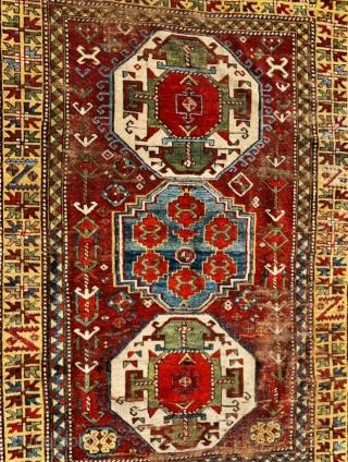 Kazak LoriPampak 1870 circa beautifully aged and worn, with worn out areas but no restoration 254x150Cm