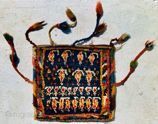 Gabbeh Qashqai bag 1880 circa all natural colors and in good condition size 30x31cm
