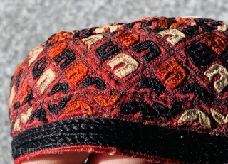 old Turkmen cap Embroidery in silk.