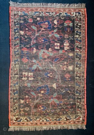 antique small Bijar Rug 1860 circa 2 heads of this this piece was built like 2 or 3 centimeters very professionally(is very old repair) size84x54cm
