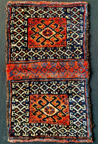 double face Qashqai chanteh 1880 circa with symmetric knots in perfect condition•••size44x27cm