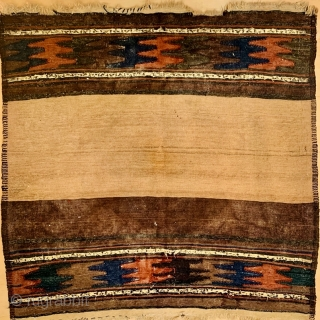 Antique Baluch Sofreh,size110x114cm,wool on wool1870 circa.