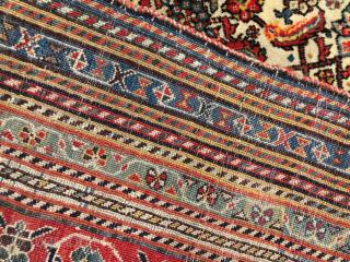 Silk wefted Persian Qashqai Carpet circa 1880 size 190x245 cm
