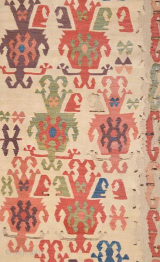18th Century Central Anatolian Aksaray Kilim Fragment size 62x182 cm mounted on linen