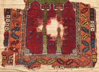 Central Anatolia Konya Prayer Rug circa 1720-50 size 110x135 cm