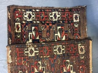 Ca.1870 Yomut 6 Gul Torba, Wonderful natural colour,, size 47x120 cm. 1.7x4 ft