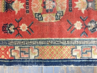 Antique Chinese Ningxia rug 126x73 cm 4.2x2.5 ft