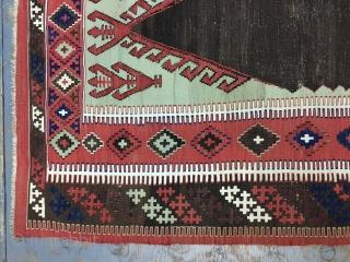 Antique Turkish Erzrum Kilim 162x122 cm 5.4x4 ft the white are cotton