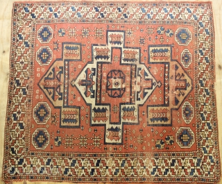 Early 19th century Bergama rug,wonderful natural colours,size:177x160 cm