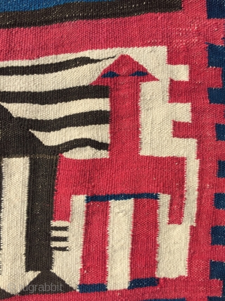 Late 19th. Tunisian Family Caravan Gafsa Kilim with mother&child camel Dimesions : 195 x 195 cm