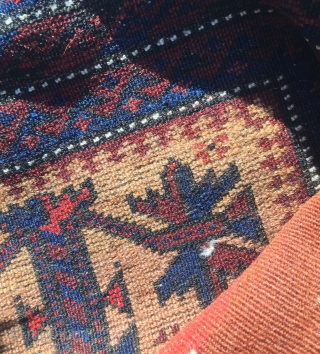 Circa 1900 Baluch Balisht bag has two parts silk on middle of tree. 90 x 45 cm