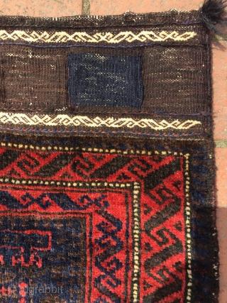 Circa 1910 Peacock design Baluch bagface, wool on cotton 59 x 59 cm