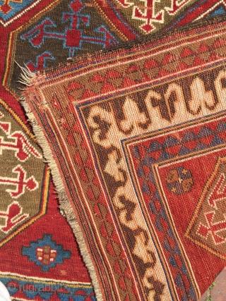 """Bordjalu Rug with Armenian letter """"Daghlik Karabagh"""" top side has missing couple of line. Size : 293 x 155 cm"""