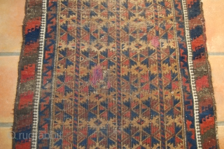 Old Baluch prayer rug with 3/5 trees of life design, wear, thin, two repairs