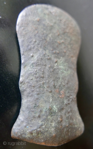 "Bronze Age Burmese Battle Axe Head;  approx 3000 years old;  acquired in Rangoon last century;   3 3/4""H x 2""W"