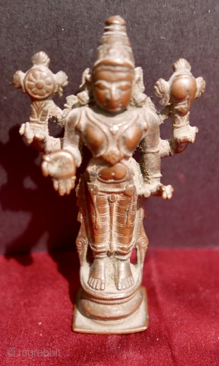 "18th c  Hindu Icon of 'Vishnu',  bronze,  3.4""H.  Vishnu,  one of the Sacred Triumvirate...Brahma,  Vishnu and Shiva.  Karnatakata State,  S India."