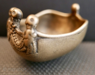 """18th c TIBETAN BUDDHIST """"KAPALA""""    """"Kapala"""" is a Sanskrit word meaning """"skull"""".  In Tibetan Buddhist monasteries """"Kapalas' were used as bowls to hold dough cakes and wine representing  ..."""