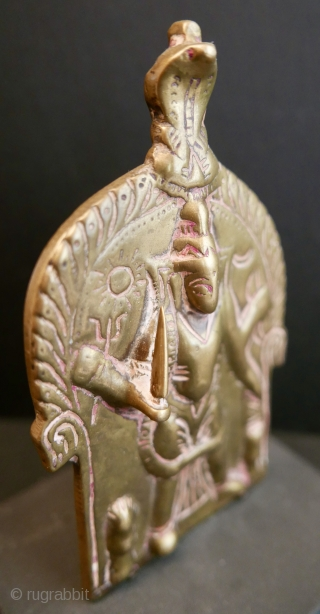 """17th c Hindu Shaivite icon of 'Virabhadra',  the fierce and frightening aspect of Lord Shiva by which He punished those who disrespected Him;  brass;  6""""H x 3.5""""W or 15cm  ..."""