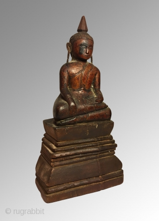 Thai Buddha, lacquered wood.  20cm x 9.5cm Amazing ears!! 19th century Great condition