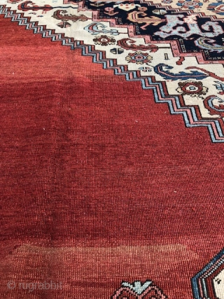Antique Persian Bakshaish, mostly even low pile with higher pile in areas, size is a large 12,7 x 16,10 . Has a light yellow spot in border pictured and about a 5  ...