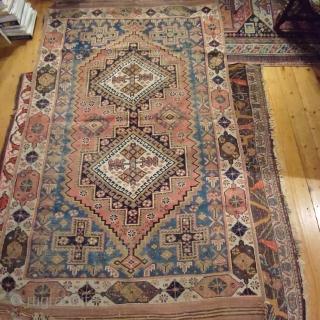 Afshar antik with great border 123x200cm, worn