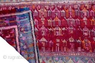 "Caucasian Verneh Camel Caravan flat-weave rug heavily woven with wonderful colors and richly embellished sumac weaving of the camels. 66"" x 108"""