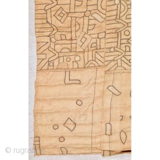 """Early Kuba raffia applique textile, a rare piece of tribal art from the Democratic Republic of the Congo, early 20th century.  38"""" x 139"""""""