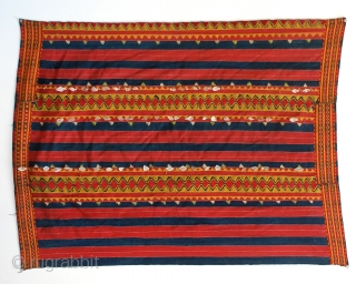 Philippines Kalinga woman's cotton wrap-around skirt with beadwork and mother of pearl fragments, natural dyes, Apayo Province and parts of Abra Province, Northern Luzon, early/mid 20th century.  The stripes of Kalinga textiles range  ...