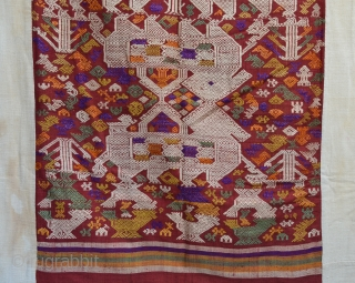 "Tai Daeng weaving, Silk supplementary weft with silk embroideries, fantastic early piece. 67"" x 38"""