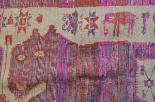 """Lao-Tai Textile Cloth  Khiao Ser (Tiger) pair used by Shamans during healing and funerary ceremonies to attract powerful and protective spiritual forces. woven with silk on cotton. 50"""" x 33"""""""