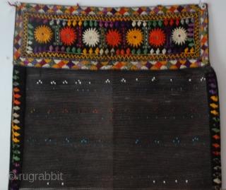 Uzbek horsehair face veil, (chachvan) horse hair, silk, cotton, beads, printed with loop construction. late 19 - early 20c