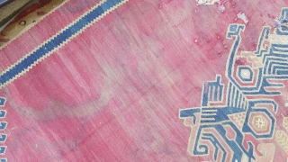 Size : 330x400 (cm).  19th Century Westanatolia ushak Kilim Fragment mounted on linen