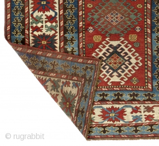"Antique Caucasian Kazak Rug, 4'7"" x 8' - 140x245 cm, ca 1870, very good condition, all original, no repairs, no issues."