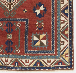 """Antique Caucasian Kazak Rug, 4'9"""" x 7' - 146x215 cm, ca 1900-1910. Very good condition, all original, even medium pile. It was hanging on a wall for most of its life. Inventory  ..."""