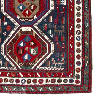 "Antique Caucasian Moghan Shahsavan Rug, 4'10"" x 10'8"" - 147x326 cm, Very good condition, full pile."