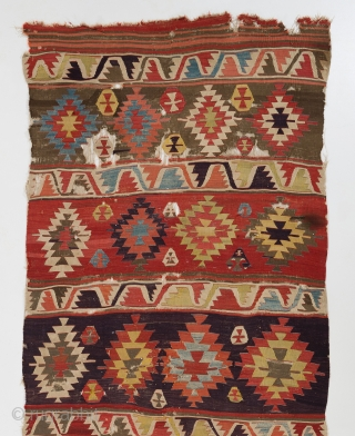 "Central Anatolian Kilim, ca 1800, 5' x 12'2"" (150x370 cm)"